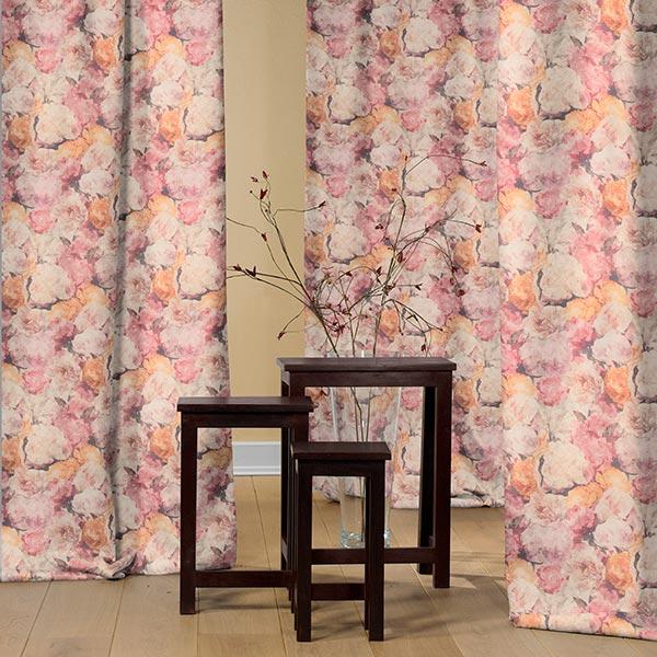 Tissu de décoration toile Roses dorées – rosé/orange