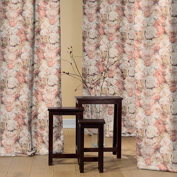 Tissu de décoration toile Roses dorées – marron rouge/or