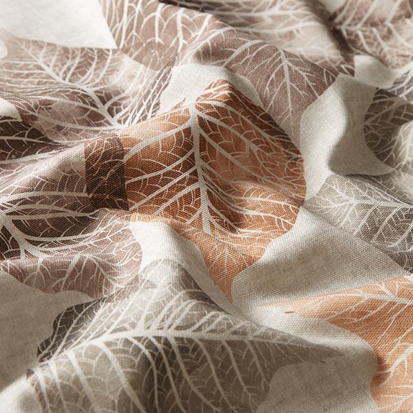 Tissu de décoration mi-panama Feuilles – marron rouge/vert