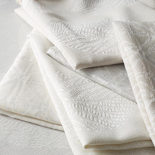 Tissu de décoration jacquard Structure de feuilles – gris clair
