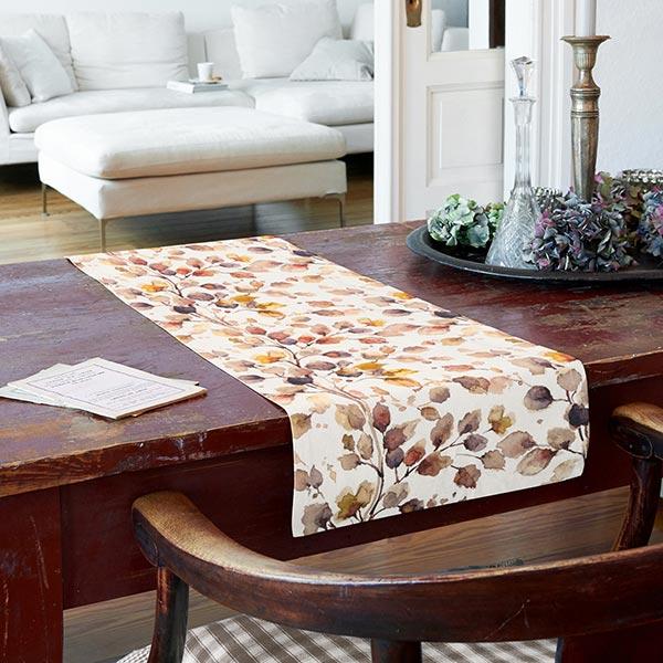 Tissu de décoration mi-panama Fleurs aquarelle – marron rouge