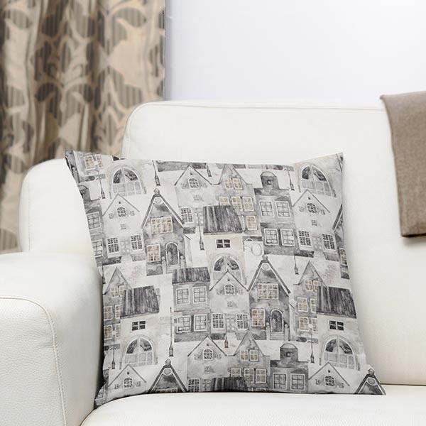 Tissu de décoration mi-panama Village d'hiver – gris