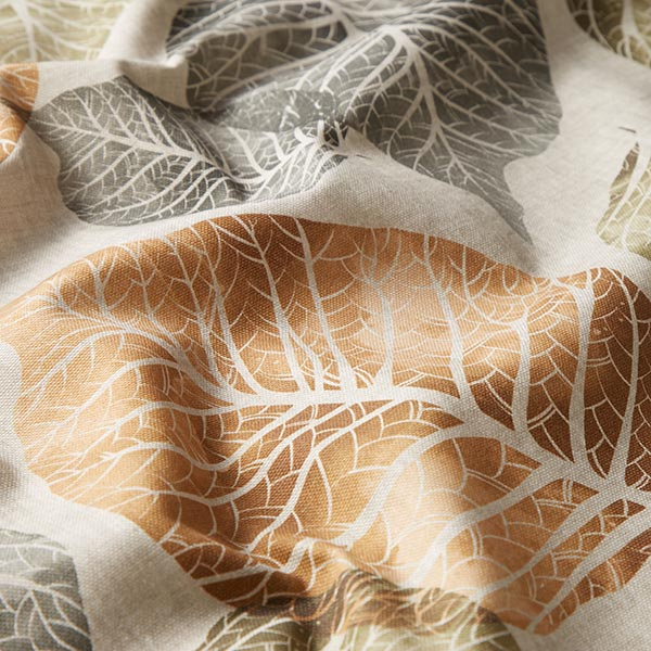 Tissu de décoration mi-panama Feuilles – orange/vert