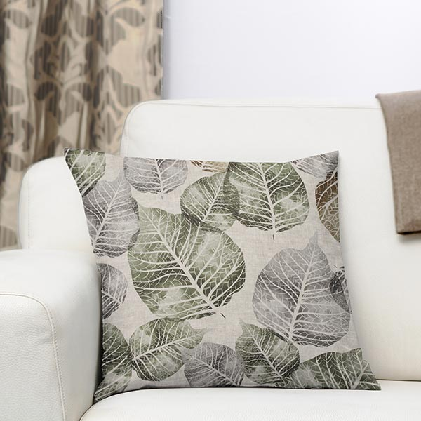 Tissu de décoration mi-panama Feuilles – vert/gris