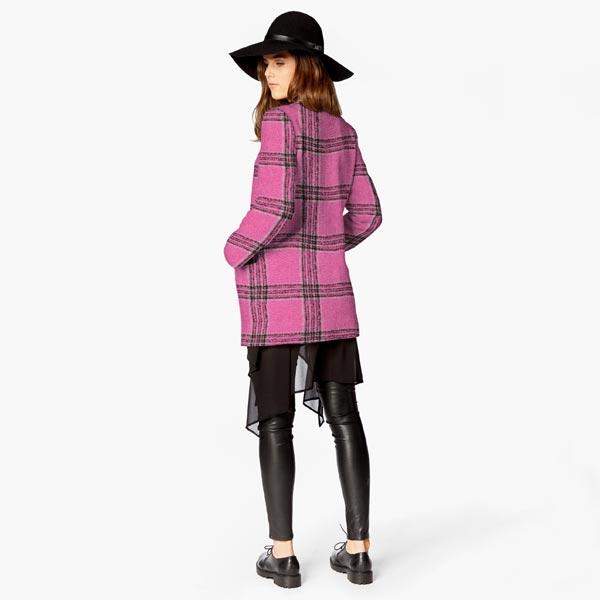 Tissu pour manteau Mélange de laine Rayures verticales – rose vif/gris