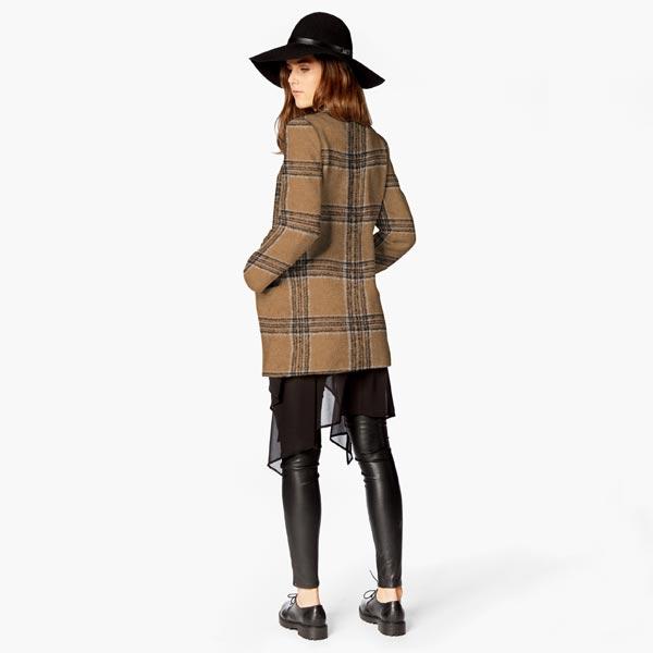 Tissu pour manteau Mélange de laine Rayures verticales – beige/marron