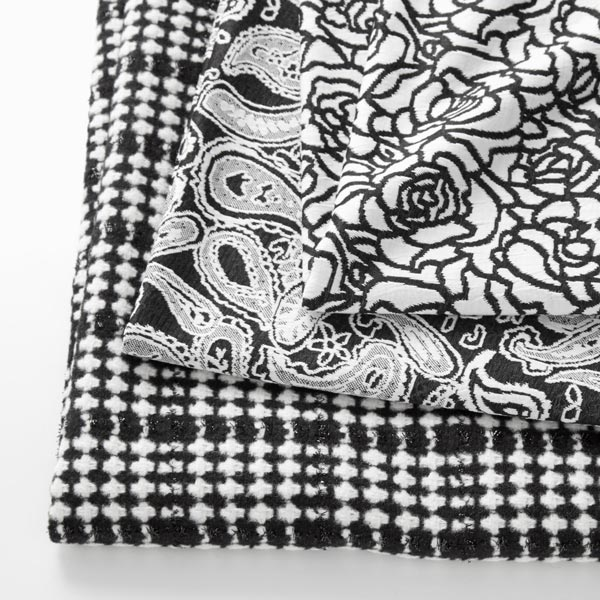 Jersey Jacquard Motif floral – noir/blanc