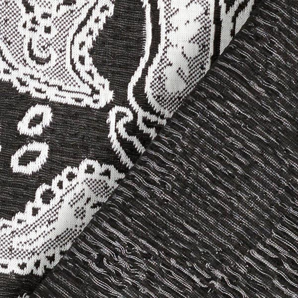 Jersey Jacquard Motif Paisley – noir/blanc