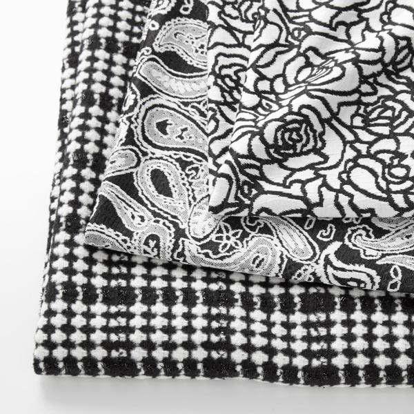 Tissu pour manteau Carreaux avec fils fantaisie – noir/blanc