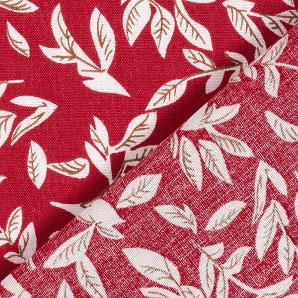 Tissu fin en viscose Rameaux de feuilles – carmin/blanc