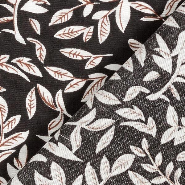 Tissu fin en viscose Rameaux de feuilles – noir/blanc