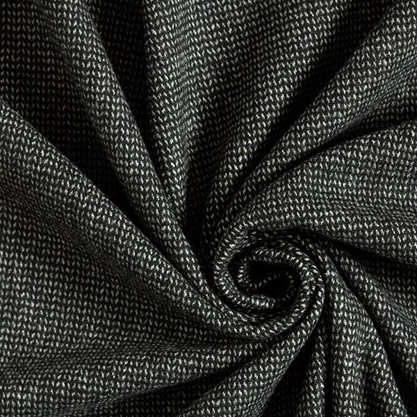 Tissu pour manteau Mélange laine vierge Aspect tricot – noir/blanc