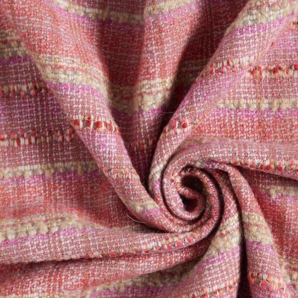 Tissu pour manteau Mélange laine vierge Bouclé Carreaux multicolores – rose vif