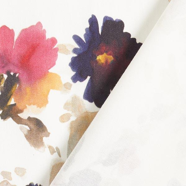 Gabardine Stretch Aquarelle de fleurs – blanc/lilas