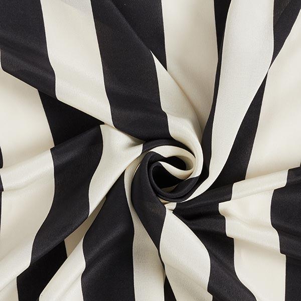 Tissu de soie Crêpe de Chine Rayures larges – noir/écru
