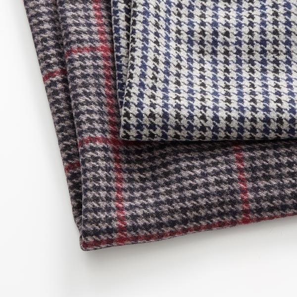 Tissu pour manteau Mélange de laine Pied-de-poule – gris/bleu marine