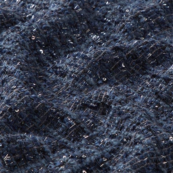 Tissu bouclé Mélange de laine Scintillement de paillettes – bleu