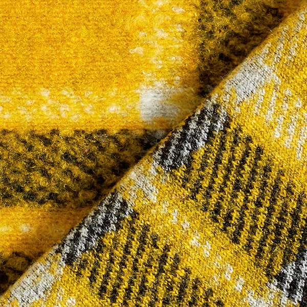Tricot manteau Mélange de laine Motif carreaux – jaune soleil