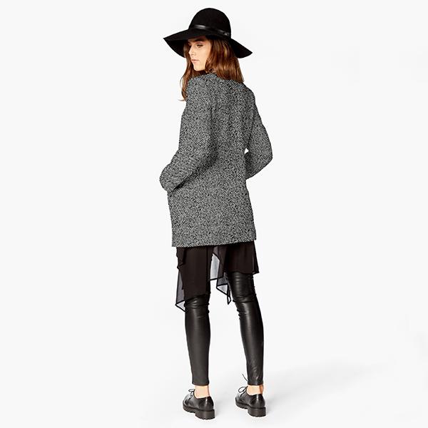 Tissu pour manteau Mélange de laine Chevron – noir/blanc