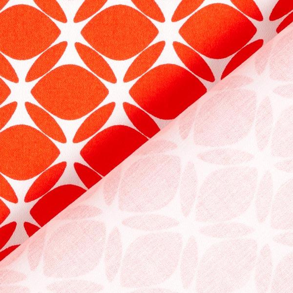 Satin de coton Losanges rétro ronds – rouge clair/blanc