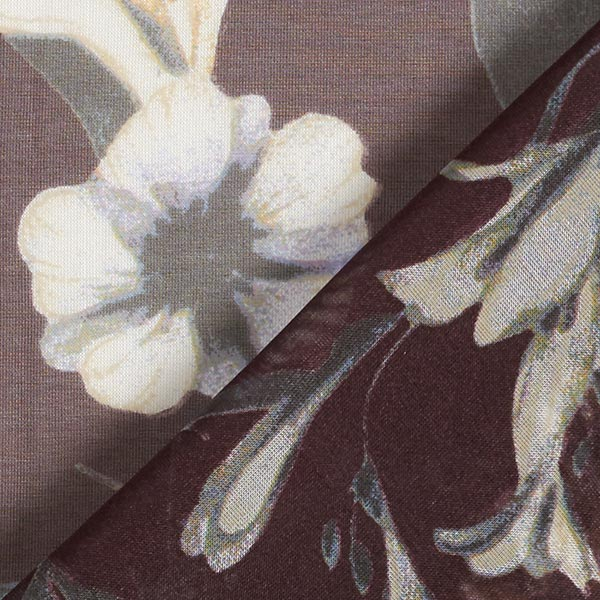 Chiffon de soie Arbustes et fleurs – écru