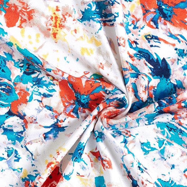 Jersey viscose Fleurs en graffiti – écru/turquoise