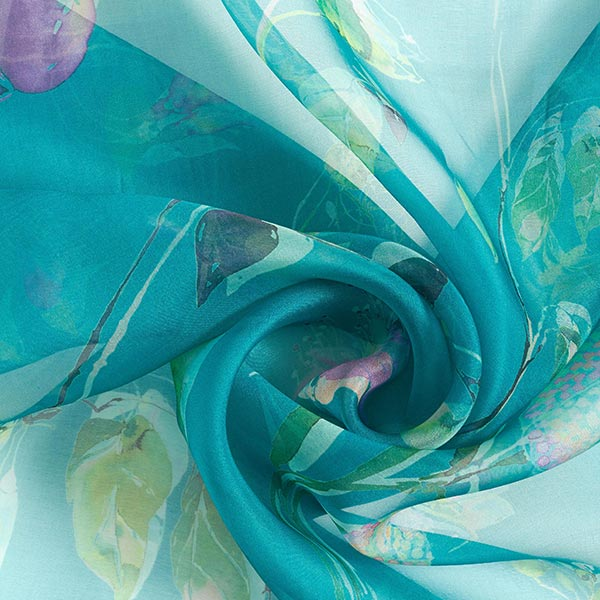 Organza de soie fleurs aquarelles – pétrole