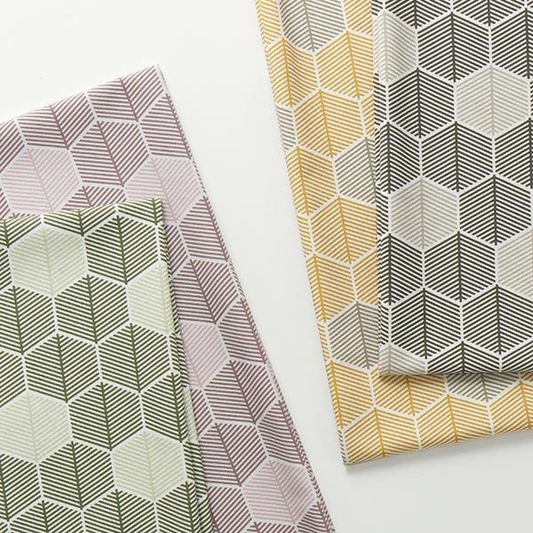 Dekostoff Canvas grafische Blätter – wollweiss/oliv
