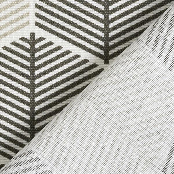 Dekostoff Canvas grafische Blätter – weiss/anthrazit