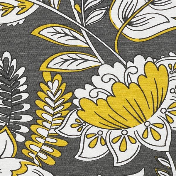 Dekostoff Canvas Comicblumen – sonnengelb/weiss
