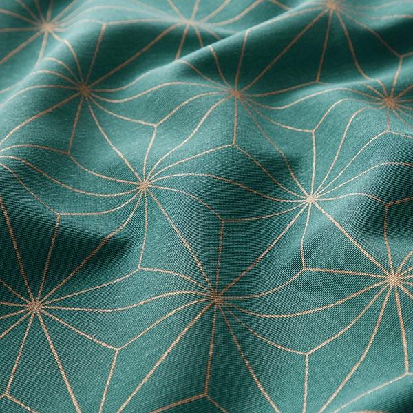 Tissu de décoration Canvas Étoiles Art déco – pétrole/or