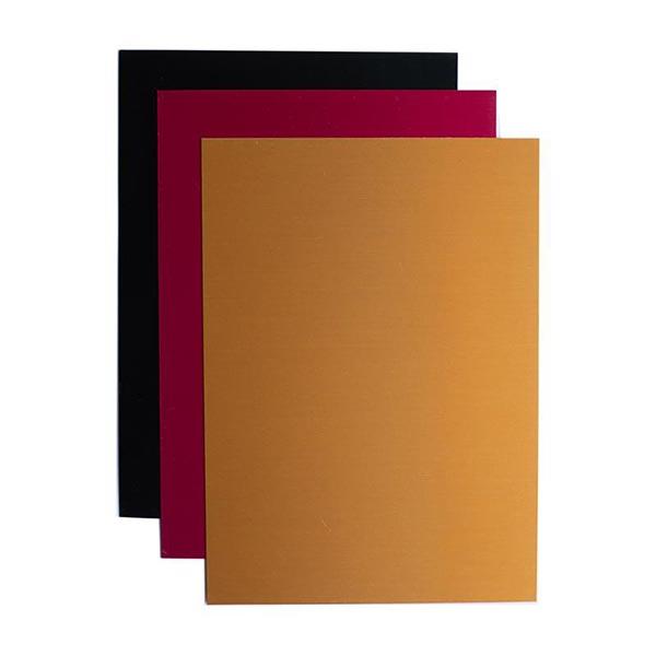Silhouette Plaque de gravure en aluminium [12,7 x 17,7 cm 3 Pièces] – noir/or