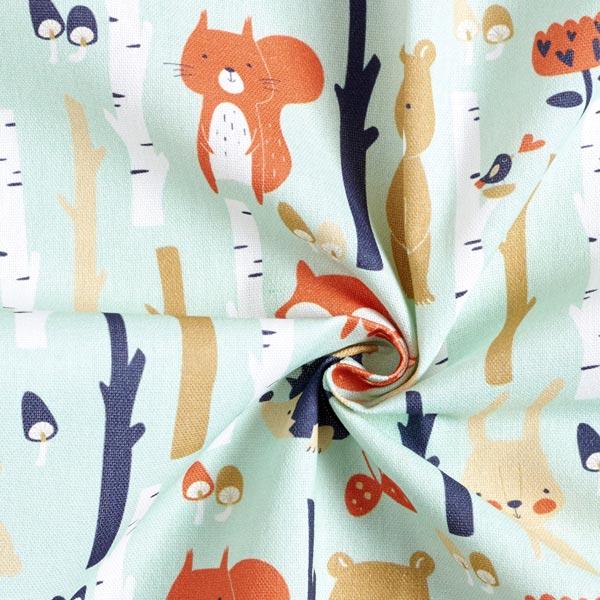Tissu de décoration Semi-panama Animaux de la forêt – vert menthe