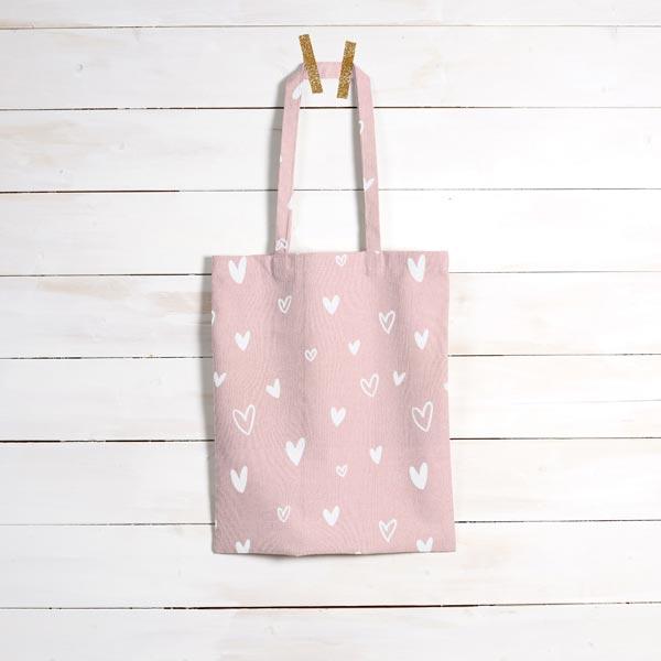 Tissu de décoration Semi-panama Petits cœurs – rose