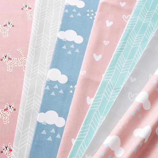 Tissu de décoration Semi-panama Chats – rose