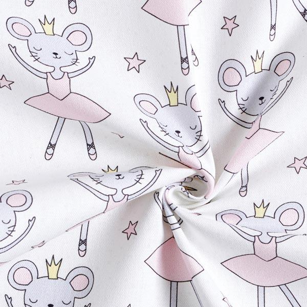 Tissu de décoration Semi-panama Souris ballerine – rose/blanc