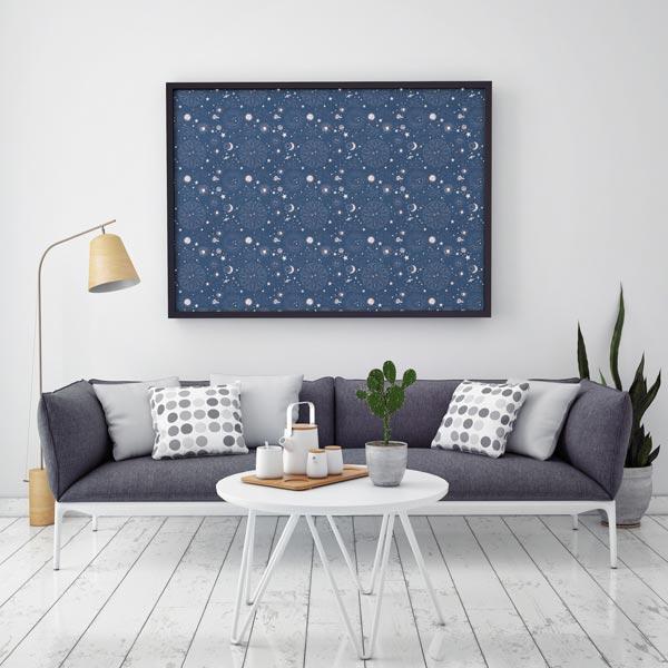 Dekostoff Halbpanama Himmelskörper – marineblau
