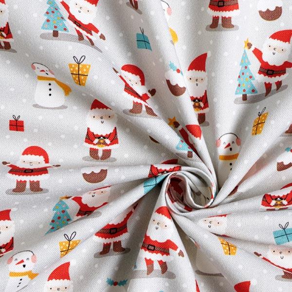 Dekostoff Halbpanama feiernde Weihnachtsmänner – nebelgrau