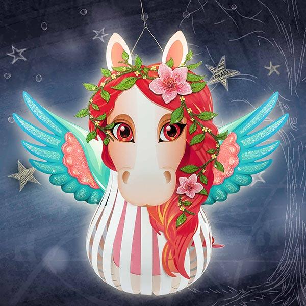 3D-Laternen-Bastelset Pegasus  – wollweiss/lila