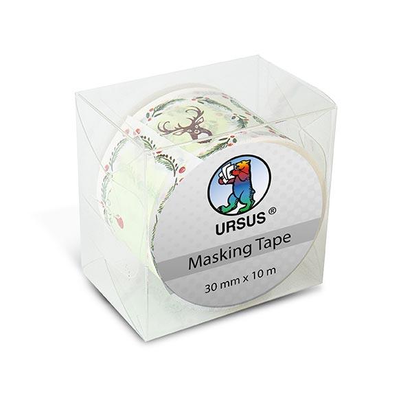 Washi Tape XL Etiketten [ 30 mm / 10 m ] – wollweiss/rot