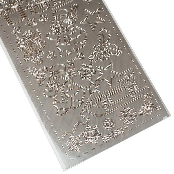 Kreativ-Sticker Weihnachten [ 10 x 23 cm ] – silber