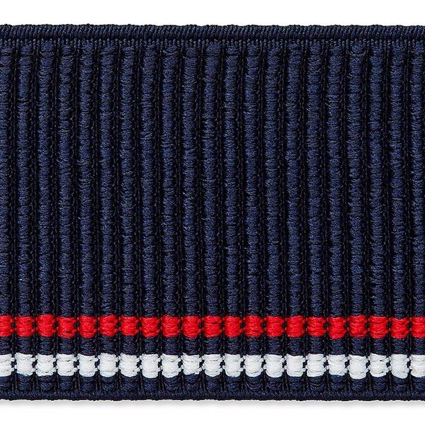 Elastisches Strickband [50mm] – marineblau/rot