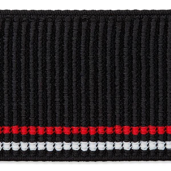 Ruban tricoté élastique [50mm] – noir/rouge