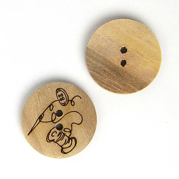 Holzknopf Nadel + Faden