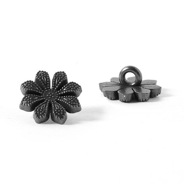 Bouton métal Fleur 1 – argent ancien