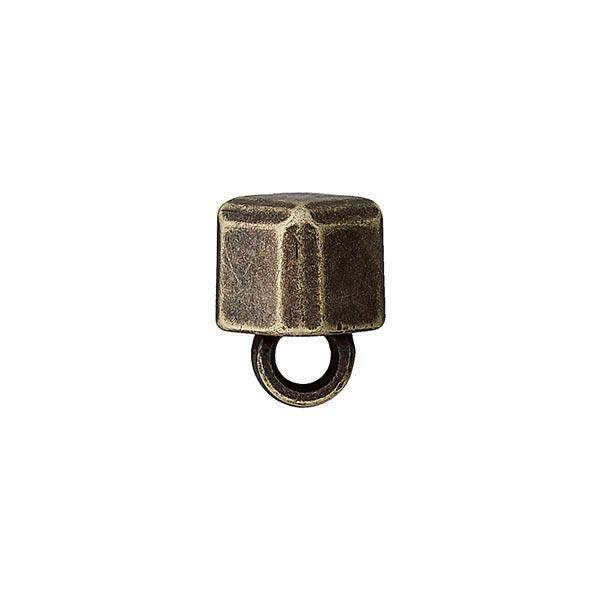 Bouton polyester/métal - CUBE BRILLANT - or vieilli