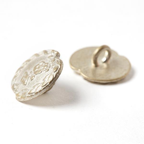Bouton folklorique Rinceau de fleurs - argent vieilli