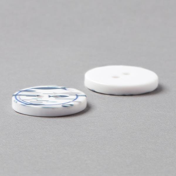 Bouton plastique Fish - blanc/bleu