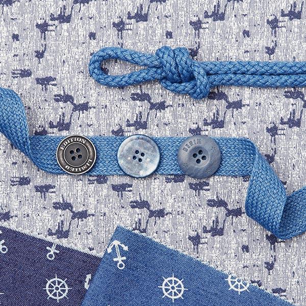 Bouton polyester 4 trous au look denim - gris foncé
