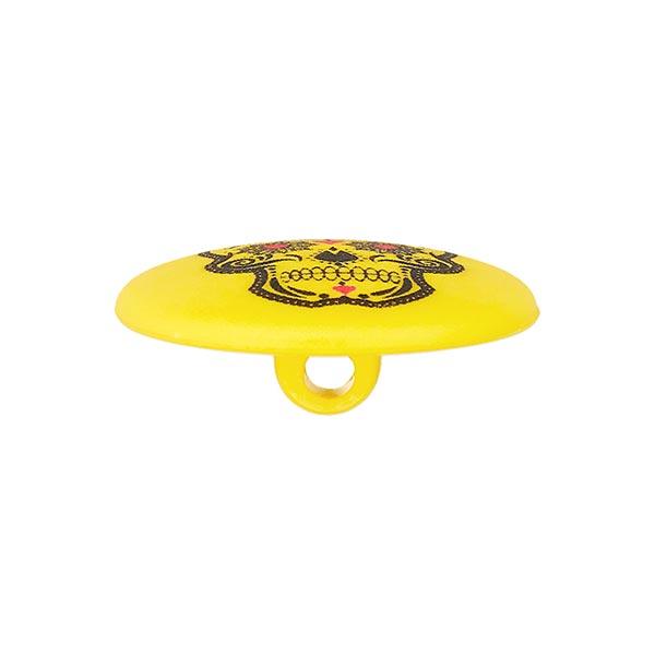 Bouton polyester à queue Tête de mort Marion - jaune